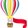 Hot air balloon and blank banner illustration — Stock Photo