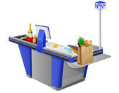 Cash register terminal and food stuffs — Stock Photo