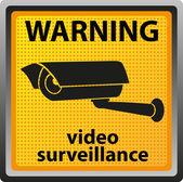 знак предупреждения камеры наблюдения — Стоковое фото