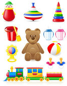 Icon of toys and accessories for babies and children — Stock Photo