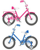 Pink and blue kids bicycle illustration — Stock Photo