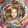 Young woman face with scarves - Stock Photo