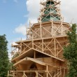 Construction of rural wooden church. Russia — Stock fotografie #10970606