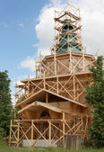 Construction of rural wooden church. Russia — Stock Photo