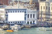 Venice with advertising wall — Stock Photo