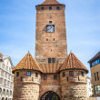 Stock Photo: Clock tower Nuremberg BavariGermany