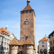 Stock Photo: Clock tower Nuremberg Bavaria Germany