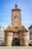 Clock tower Nuremberg Bavaria Germany — Stock Photo
