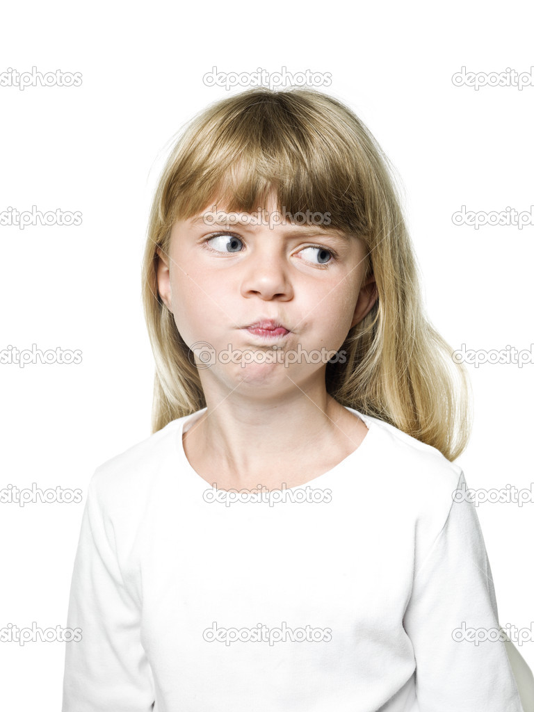 Portrait of a Little Girl making a face — Stock Photo #12118312