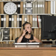 Young business girl on the phone — Stockfoto