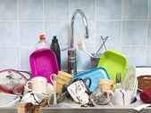 грязной кухне — Стоковое фото