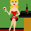 Beautiful blond woman at the bar drinking wine — Stock Vector