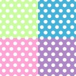 Seamless white polka dots pattern over colorful squares — Stock Vector #11250505