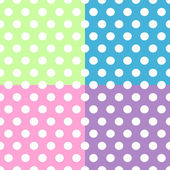 Seamless white polka dots pattern over colorful squares — Stock Vector