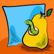 Grungy worm cartoon inside a pear with sticky note — Stock Vector