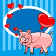 Cartoon pig love card — Stock Vector