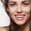 Happy beautiful young woman model with natural daily makeup. Lovely female smile with healthy white teeth — Stock Photo