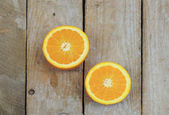 Two halves of fresh orange — Stock Photo