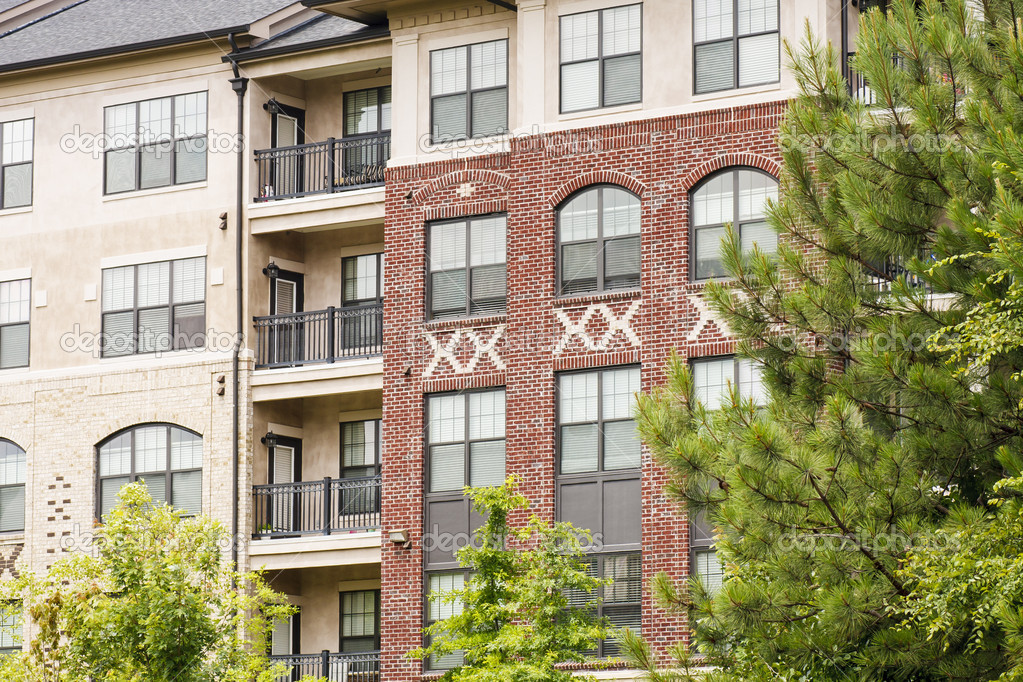 Modern Brick And Stucco Apartments By Trees Stock Photo Dbvirago 11469536
