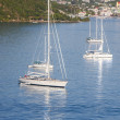 Four White Sailboats in Blue Bay — Stock Photo #11607101