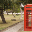 Red Phone Booth in Public Park — Stock Photo