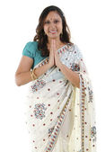 Indian woman greeting — Stock Photo