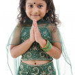 Indian girl greeting — Stockfoto
