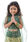 Indian girl greeting — Stok fotoğraf