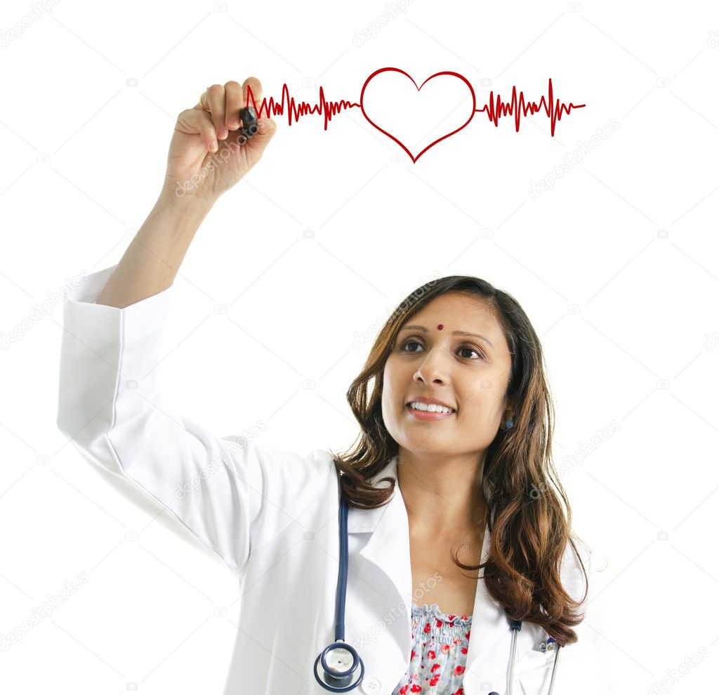 Asian Indian female doctor drawing a heartbeat over white background. Medical concept — Stock Photo #11501623