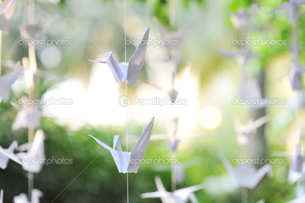 Handmade paper crane decoration hanging for blessing purpose — Stock Photo #11897862