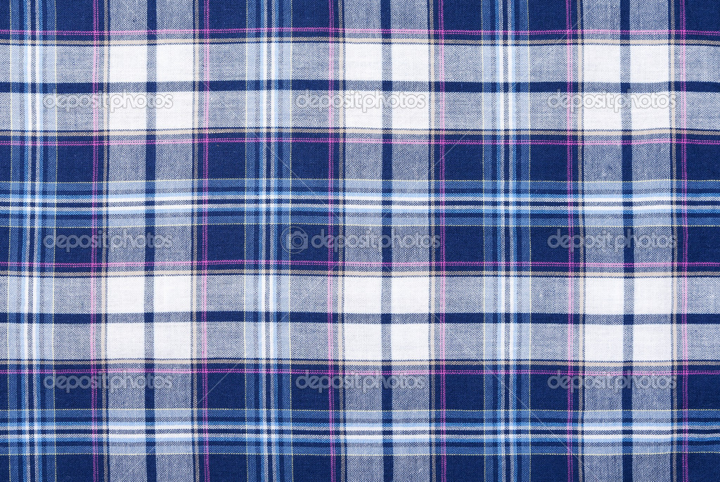 Checkered background of high-quality fabric blue, white and slightly pink — Stock Photo #10797821