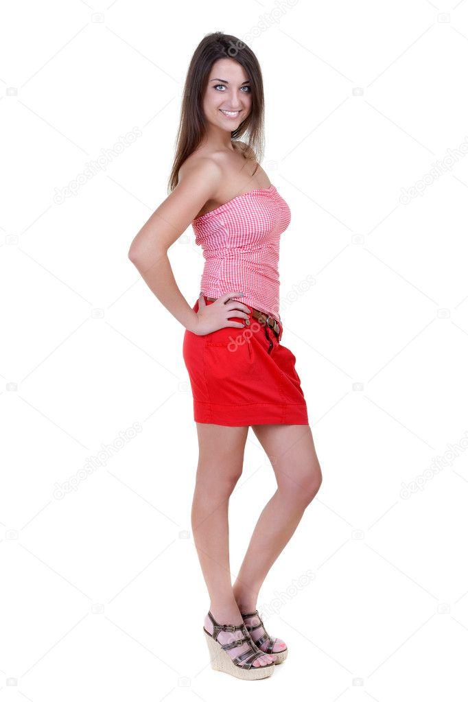 девушка в красной юбке фото-ро3