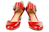 Fashionable women's red shoes — Stock Photo