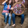 Two beautiful girls in the hay with a wheel on the wagon — Stock Photo