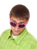 Portrait of a Man in pink sunglasses funny — Stock Photo
