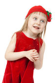 Portrait of a little girl in red dress — Stock Photo