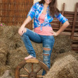 Smiling young woman in a shed with rural interior — Stock Photo