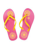 Pink summer beach shoes with a yellow pattern — Stock Photo