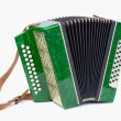 Постер, плакат: Old bayan musical instrument as accordion isolated on white
