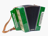 Old bayan (musical instrument as accordion) isolated on white — Stock Photo