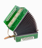 Green Accordion, isolated on white background — Stock Photo