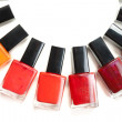 Stock Photo: Coloured nail polish packed in semicircle