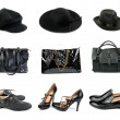 Three sets of hats, handbags and shoes. — Stock Photo
