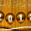 Stock Photo: 2013 new year illustration with golden balloons