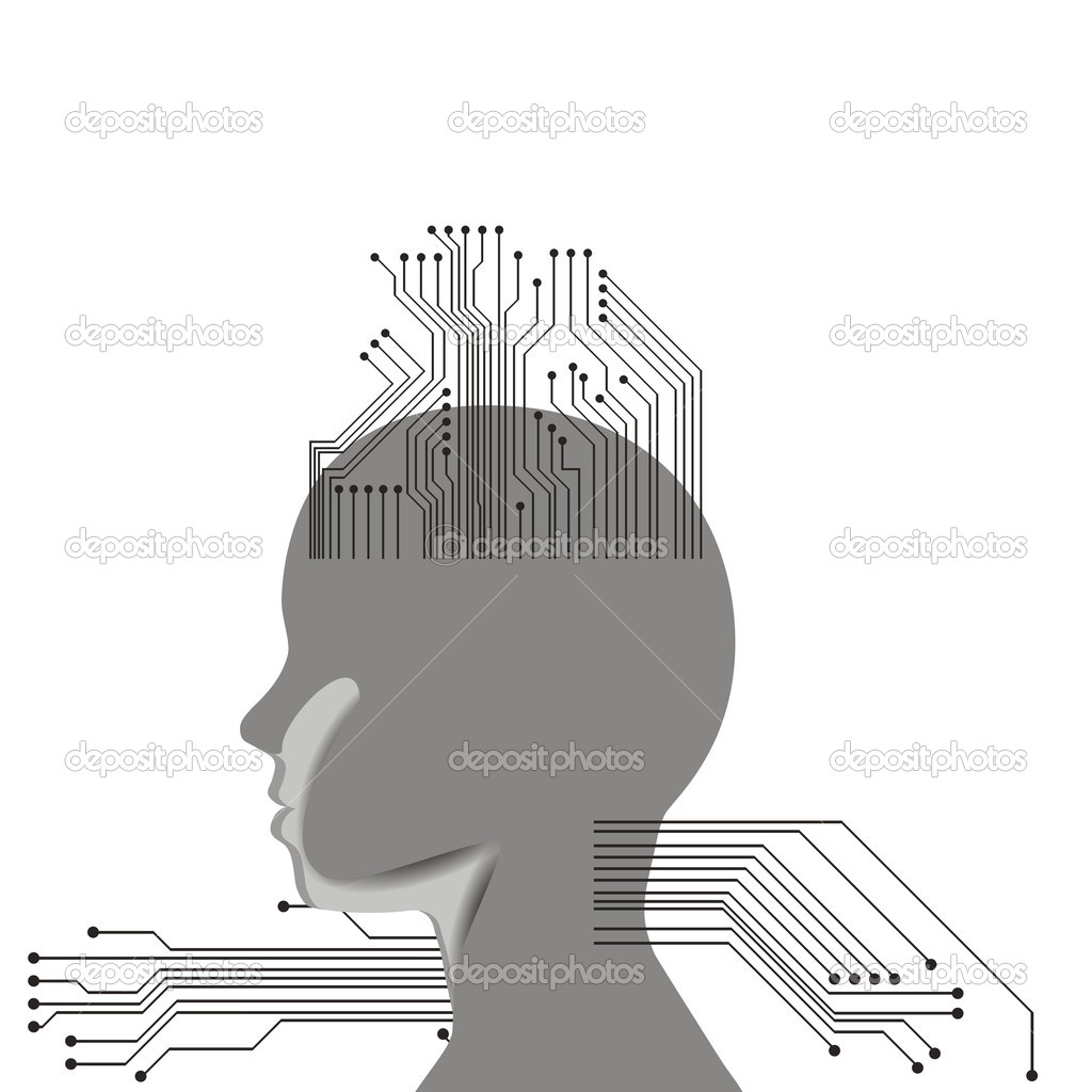Human head with many chips — Stock Vector #11397439