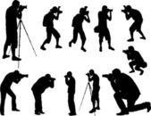 Siluetas de fotógrafos — Vector de stock