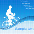 Bicyclist on the blue abstract background — Stockvectorbeeld