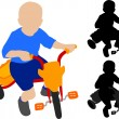 Child riding tricycle — Stockvectorbeeld
