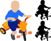 Child riding tricycle — Vettoriale Stock