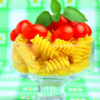 Delicious cherry tomatoes with pasta in goblet — Stok fotoğraf